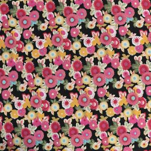 2m Designer Baumwollstoff bunte Blumen Kleiderstoff Dekostoff Vorhang Blusen