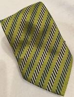 Enrico Fertuchie Olive Green Tie Diagonal Stripes Geometric Pattern