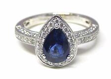 Simon G 18K White Gold Ring 1.74 ctw Blue Sapphire .45 ctw Diamond Size 6.5