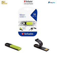 ($0 P&H) Verbatim Micro+ USB flash Drive 16GB  Store n Go Micro 66061 Green