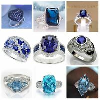 Fashion 925 Silver Rings Women Jewelry Blue Sapphire Wedding Ring Size 6-10