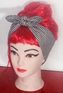 headband bandana head scarf dolly bow hair wrap pin-up black and white gingham
