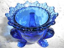 Cobalt Blue Vaseline art glass toothpick holder uranium floral rose gerber daisy