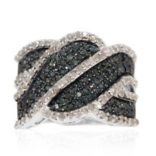 Blue Diamond, Diamond Criss Cross Ring in Platinum O/lay S/Silver 1ct size Q
