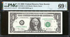 2003 $1 Federal Reserve Note with Fancy RADAR Serial # PMG 69EPQ