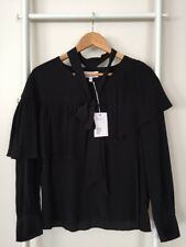 And OTHER STORIES Black Long Sleeves Ruffled Top Blouse Sz S NWT