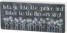 "LET'S GO INTO THE GARDEN Wooden Box Sign 14"" x 6"", Primitives by Kathy"