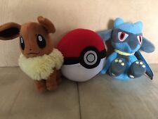 Lot of 3 Pokemon Stuffed Animals Plush Eevee, Riolu and A Pokémon Ball