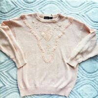 80's Vintage Baby Pink Sweater with  Bead And Ribbon Detail Sz M