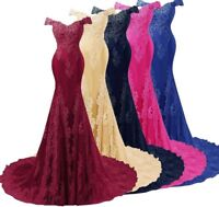 Lace Mermaid Bridesmaid Dress Party Prom Evening Gown Wedding Train Off Shoulder