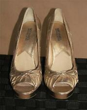 Michael Kors Gold Platform 4-inch High Heels Peep Toe Shoes Size 8.5 B/M