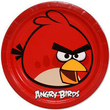 ANGRY BIRDS LARGE PAPER PLATES (8) ~ Birthday Party Supplies Dinner Luncheon Red