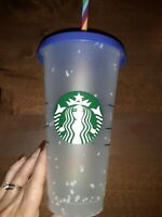 Used Starbucks Pride Summer 2020 Confetti Color Changing Cold Cup Rainbow Straw