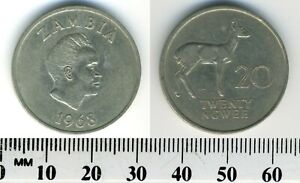 Zambia 1968 - 20 Ngwee Copper-Nickel Coin - K.D. Kaunda - Bohur Reedbuck