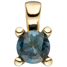 Solitaire Pendant Blue Topaz Blue London Blue, 585 Yellow Gold Topasanhänger