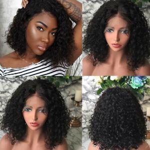 Women's Curly Wavy Shoulder Length Wigs Dark Black Ladies Costume Synthetic Hair