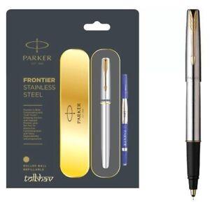 Parker Frontier Steel GT Roller Ball RB Pen Gold Trim Rollerball Blue Nib New SS