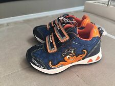 Boys Geox Shoes Size 4.5 Sport Blue Orange  Lights Up Leather Insole