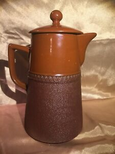 Vintage Lovatts Langley Ware Pottery England Two Tone Brown Coffee Pot