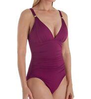 Ralph Lauren 162184 Womens Solid V-neck One-Piece Swimsuit Plum Size 8