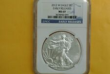 2012-W (Burnished) Silver American Eagle NGC MS-69 EARLY RELEASES