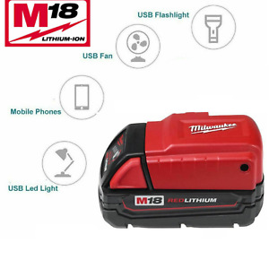 Milwaukee M18USBPSHJ2 Cordless USB Power Source Charging Adapter 18V Lithium Ion