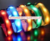 RECHARGEABLE LED PET GLOW COLLAR dog cat safety neck harness flash light USB