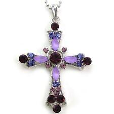 New Catholic Christian Purple Heart Cross Necklace Charm Pendant Costume Jewelry