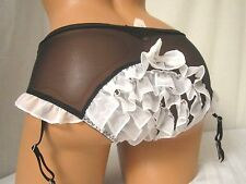 Victoria's Secret Sexy Little Things French Made Tuxedo Ruffle Garter Pantie SP