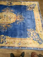 "Antique handwoven Chinese blue color rug abussan design size 9'7""×13' cir 1930s"