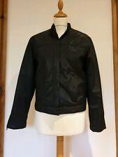 Nikita Black Short PVC Zip Up Biker Jacket. Quilted Lining. Size 10, 38
