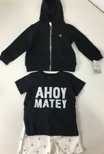 Carters Boys 3 Piece Layette Set Hoodie/Tee/Shorts NWT $38 Black/White 18 Months