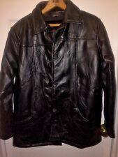 TUDOR COURT Black Leather Patchwork Effect Jacket Coat Size M Med Fur Lined bike