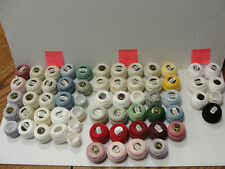 Lot of 55 Balls and 7 Partials Dmc Perle Cotton Sizes 12, 8, 5 New and Used