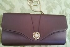 Vintage Purse Brown Satin with Gold Chain