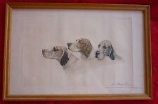 Léon DANCHIN gravure 3 têtes setters se chevauchant signée numérotée