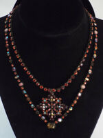 Sorrelli CRYSTAL 2 Necklaces Set Pendant RED PINK Coral Shimmering Antique Tone