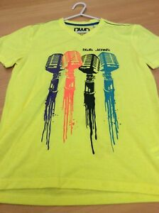 boys clothes 11-12 years C&A Yellow Poly DWD Jeans Microphones Short Sleeved Top