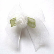 OOrganza Ribbon Bows With Rose Buds Embellishments x 10 - * Choose Your Colour *