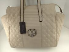Women's GUESS XL Dove Beige MICA LEATHER Shoulder Bag - $108 MSRP -20% off