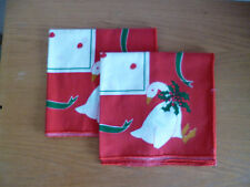 Vera   2 Holiday Napkins Goose  Geese w/ Holly at Neck