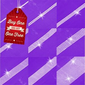 1 2 3 4 5 6 12 24 Strips SILVER Diamante Rhinestone Crystal Effect Banding