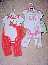 Girl's - 6-9 M -TWO - 3 Piece First Imp. Sets -Pink Set & Peach Set - MSRP $9.98
