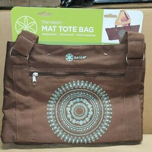 """Gaiam Yoga Tote Mat Bag Brown Marrakesh Cotton Canvas Fits Up To 24"""" Wide Mat"""