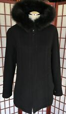 Sachi Black Fur-Collar Zipped Coat Wool Women's Size  Medium FOX FUR