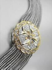 Designer Silver Gold Filigree CZ Crystals Maltese Cross Cable Chains Bracelet