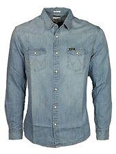 Mens Wrangler Western Denim Shirt Regular Fit W5973074e - Blue Light Wash S