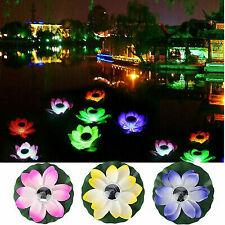 Flor de loto solar Luces LED Lámpara Estanque flotante Jardín Piscina Luz