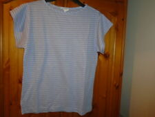 Lilac / white stripe semi sheer short sleeve top, size 10-12, Made in Italy, NEW
