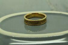 14K YELLOW GOLD WOOD GRAIN FINISH RING 5.7mm BAND COMFORT FIT SZ 10.5 #X14-2585